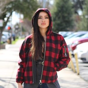 H&M NEW ⚡️ Plaid Jacket with Hoodie